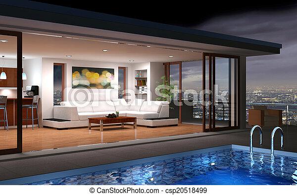 Modernes Haus mit Pool - csp20518499