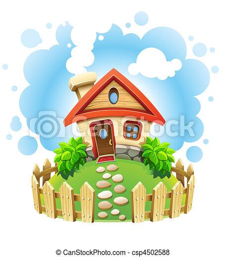 Märchenhaus auf Rasen mit Zaun - csp4502588