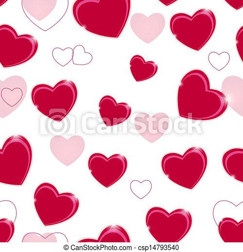 heart., muster, valentines, seamless, abbildung, vektor, hintergrund, tag, glücklich - csp14793540