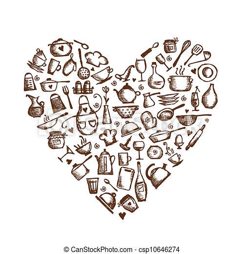 Ich liebe es zu kochen! Küchenutensilien, Herzform für Ihr Design - csp10646274