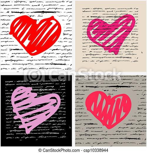 herz, set., love., abbildung, hintergrund., vektor - csp10338944