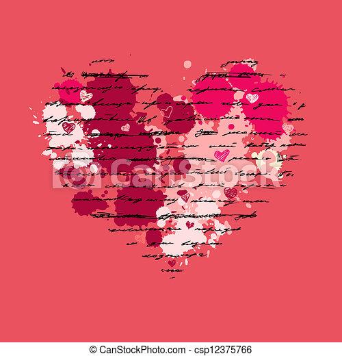 herz, vektor, love., illustration., hintergrund. - csp12375766