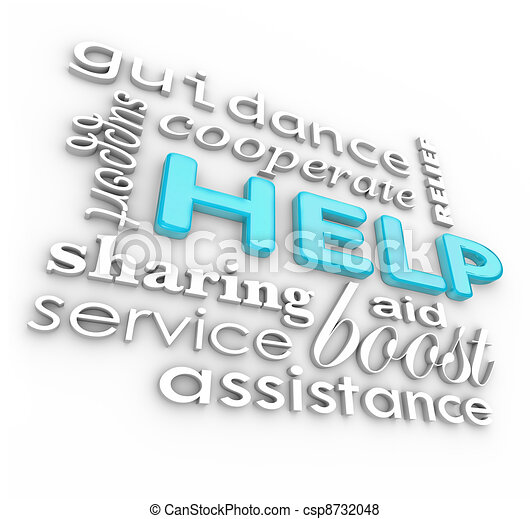 Hilf den Wörtern 3D im Hintergrund unterstützende Arbeitsbedingungen - csp8732048