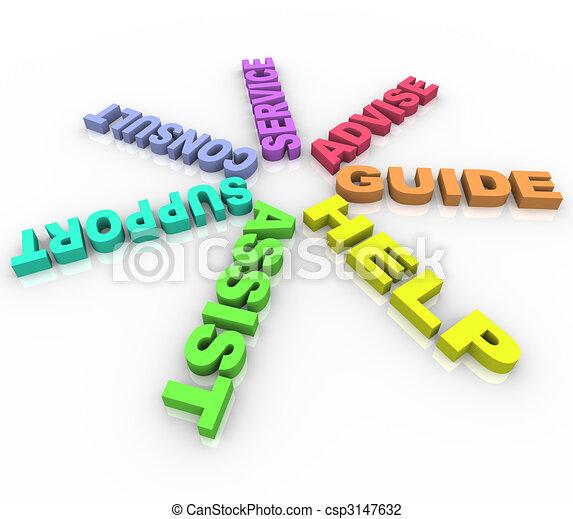 Hilfe - farbige Worte im Kreis - csp3147632