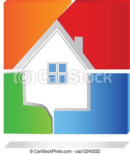 House Square Logo Vektor. - csp12243222