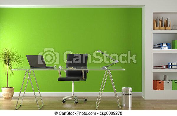 Innenarchitektur des modernen grünen Büros - csp6009278