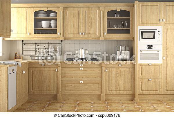 inneneinrichtung, klassisch, design, kueche  - csp6009176