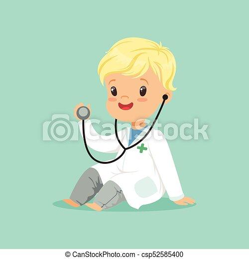 junge, kleid, doktor, medizin, wohnung, heiter, vektor, rolle, abbildung, design, weißes, kleinkind, spielende , stethoscope. - csp52585400