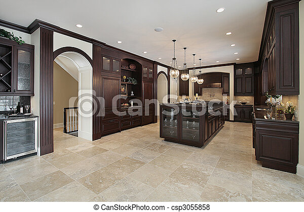Küche mit dunklem Holzschrank - csp3055858
