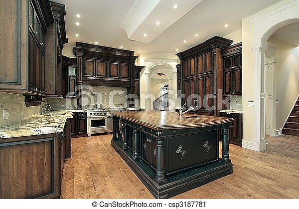 Küche mit dunklem Schrank - csp3187781