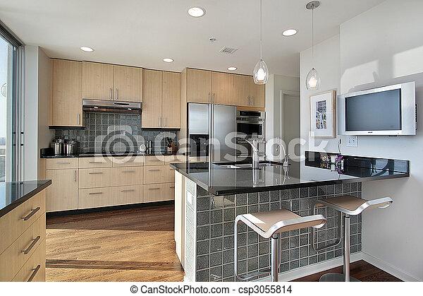 Küche mit Granitinsel - csp3055814