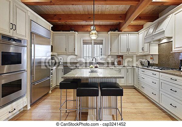 Küche mit Holzdeckelstrahlen - csp3241452