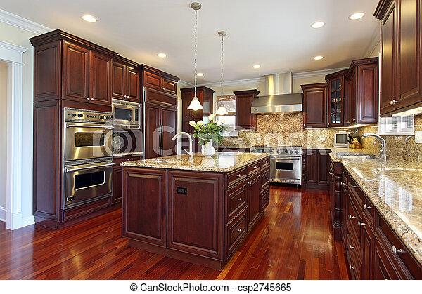 Küche mit Kirschholzschrank - csp2745665