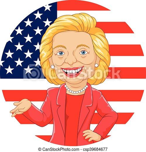 Kartoon Hillary Cinton Charakter. - csp39684677