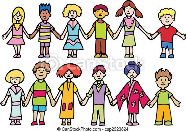 Kinder halten Händchen - csp2323824
