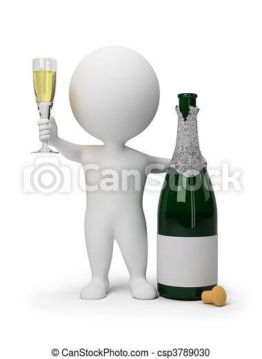 3d kleine Leute - Champagner - csp3789030
