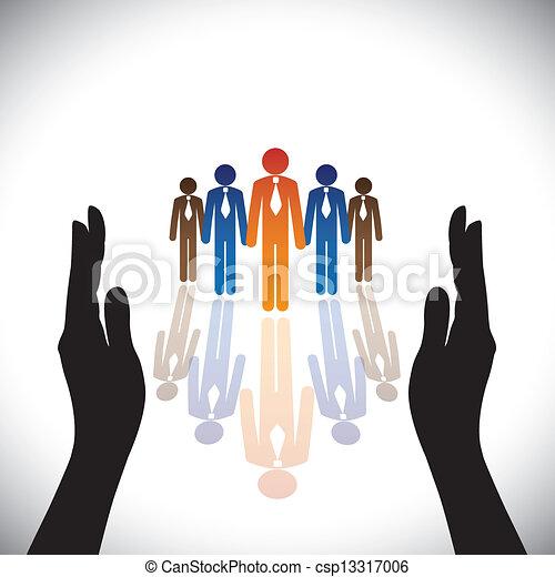 Konzept-sichere (Schutz) Unternehmensmitarbeiter oder Führungskräfte mit Handsilhouette. - csp13317006