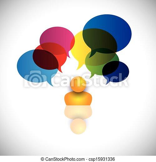 Konzession eines Mannes mit Rätseln, Fragen, Zweifeln oder Ideen. Die Grafik repräsentiert auch eine Person mit Talk-Schildern, die auf Fantasie, Ideen, Meinungen, Träume, Gedanken usw. hinweisen - csp15931336