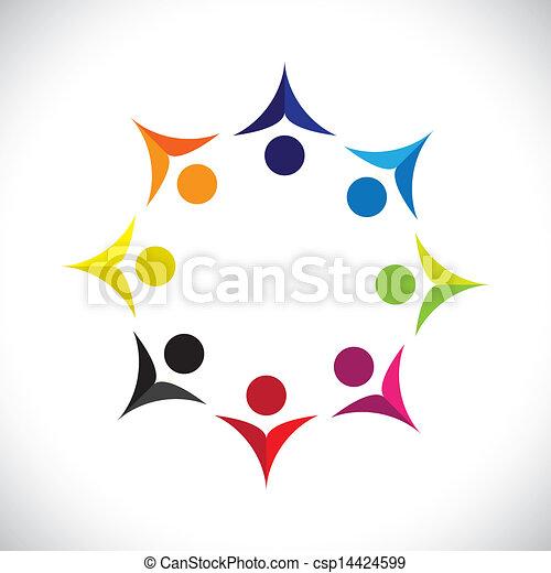Konzipieren Sie Vektorgrafik, abstrakt, farbenfrohe, vereinte, freudige Kinder Ikons(signs). Die Illustration zeigt Konzepte wie Arbeitnehmergewerkschaften, Arbeitnehmerverschiedenheit, Gemeinschaftsfreundlichkeit & Teilung, Kinderspiel usw - csp14424599