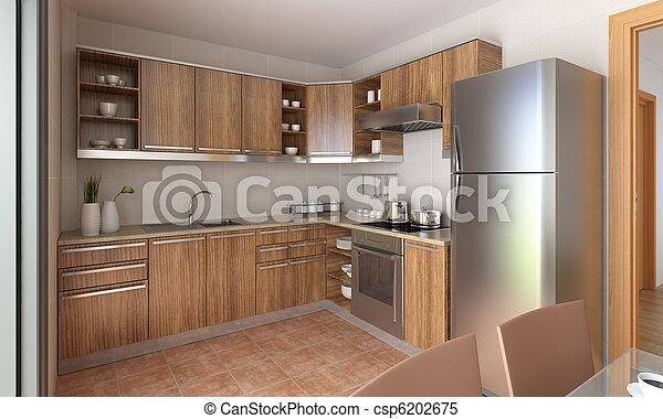 Modernes Küchendesign - csp6202675