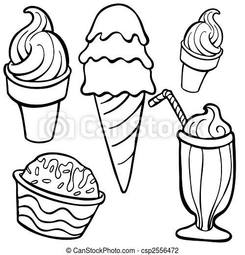 Ice Creme Food Items Line Art - csp2556472