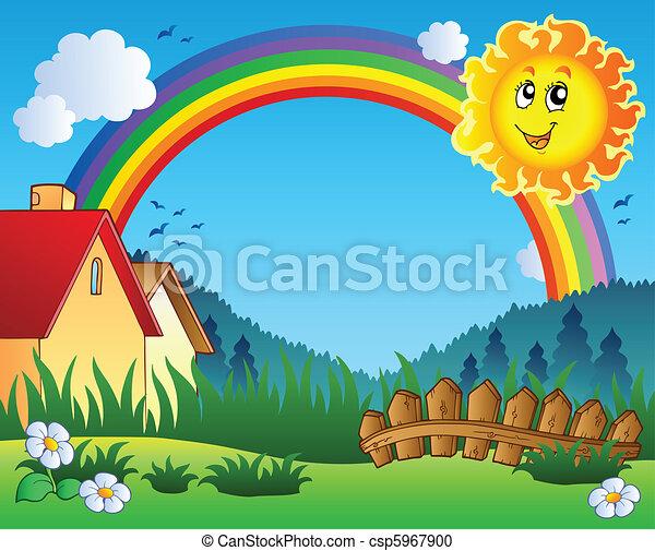 Landschaft mit Sonne und Regenbogen - csp5967900