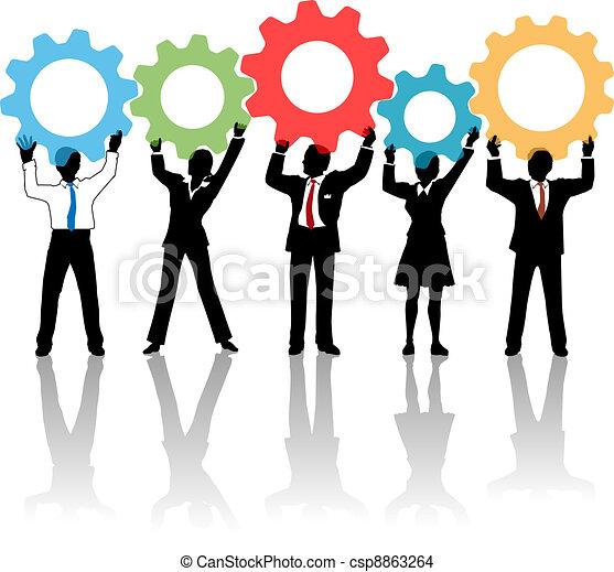 leute, auf, zahnräder, mannschaft, loesung, technologie - csp8863264