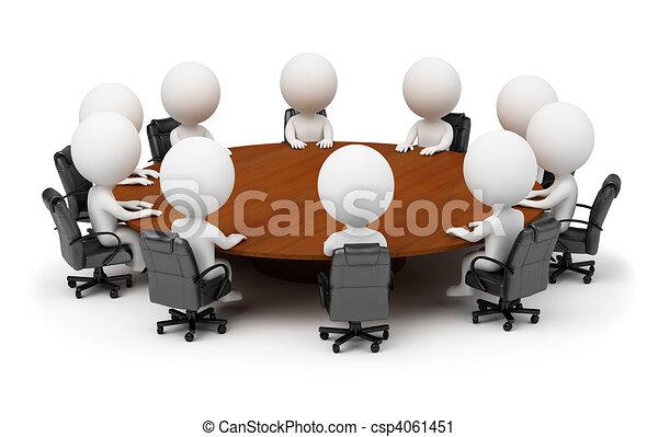 leute, -, hinten, sitzung, klein, tisch, runder , 3d - csp4061451