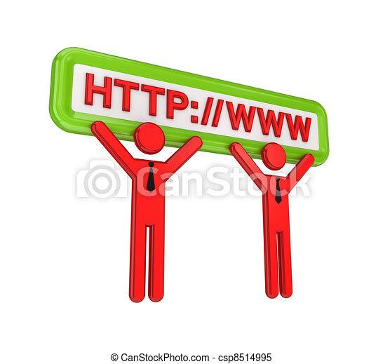 3d kleine Menschen und Internet-Symbole. - csp8514995