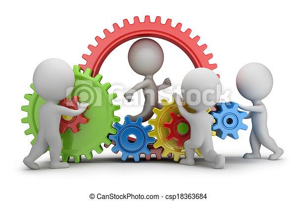 leute, -, mechanismus, mannschaft, klein, 3d - csp18363684