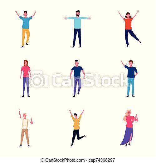 leute, satz, karikatur, haben, junger, spaß - csp74368297