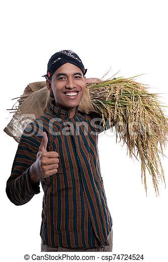 lurik, daumen, asiatisch, landwirt, ausstellung, auf - csp74724524