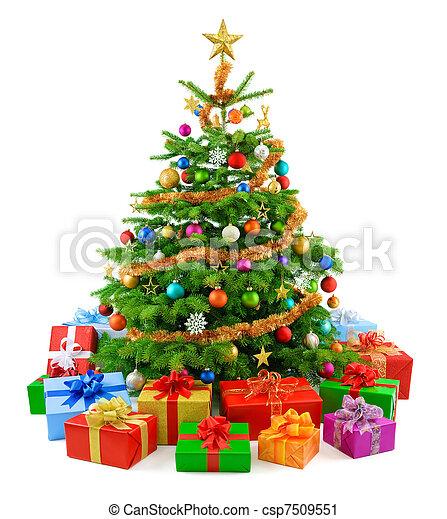 Lush Christmas tree with farful g - csp7509551