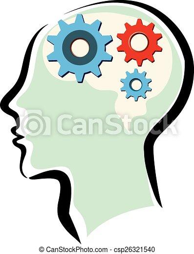 Männer mit Gehirn und Denkprozess - csp26321540