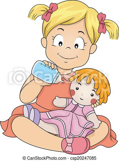 Das Mädchen füttert ihre Puppe - csp20247085