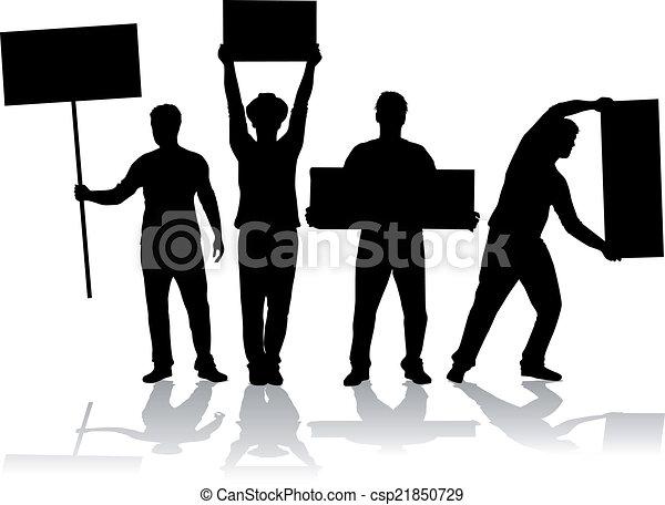 Manifestation - eine Gruppe von Menschen, die protestieren. - csp21850729