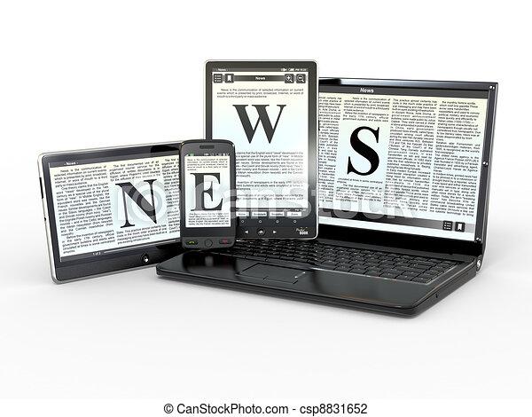 Medien. Elektronische Nachrichten. 3D - csp8831652