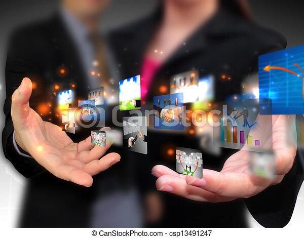 medien, leute geschäft, besitz, sozial - csp13491247
