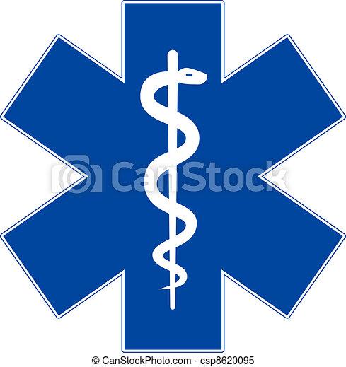 Medizinsymbol, Lebensstern, isoliert auf weiß - csp8620095