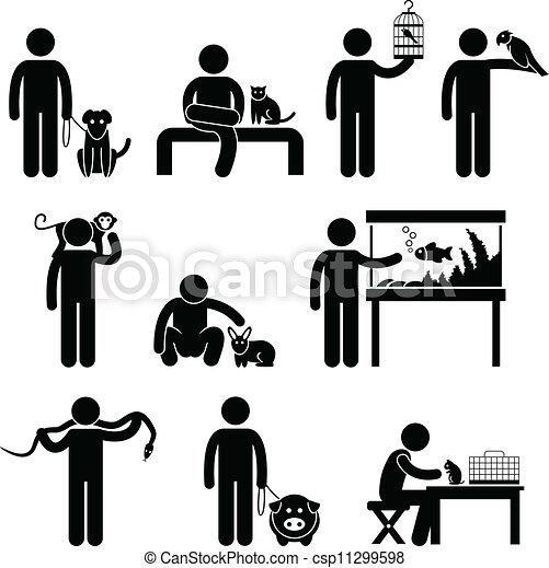 Mensch und Haustiere pictogram - csp11299598