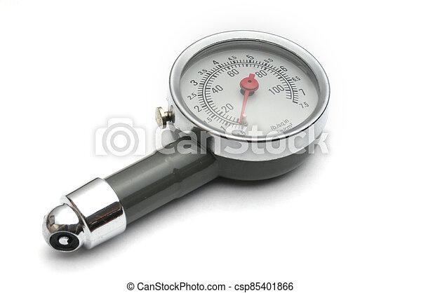 messen, auto, messgerät, hintergrund, reifen, luft, weißes, druck - csp85401866