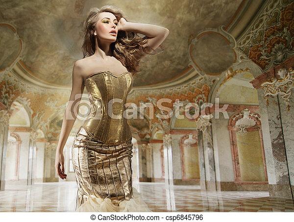 mode, kunst, foto, junger, geldstrafe, inneneinrichtung, stilvoll, dame - csp6845796