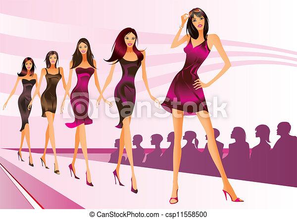 Modemodelle repräsentieren Kleidung - csp11558500
