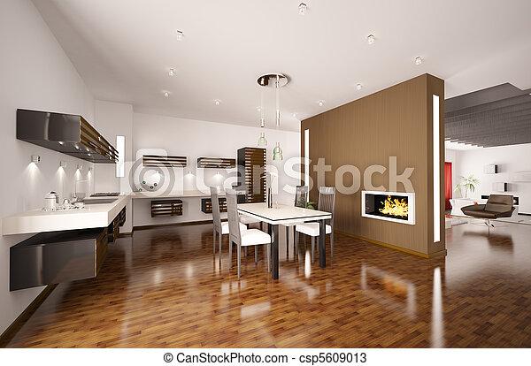 modern, kaminofen, 3d, render, kueche  - csp5609013