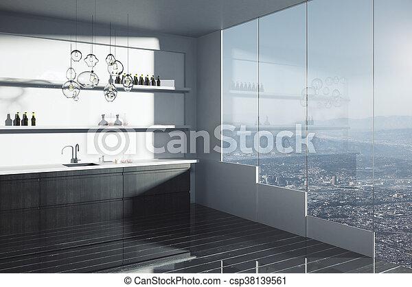 Moderne dunkle Küche - csp38139561