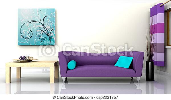 Modernes Innere und Sofa - csp2231757