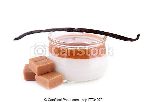 nachtisch, karamell, creme - csp17734970