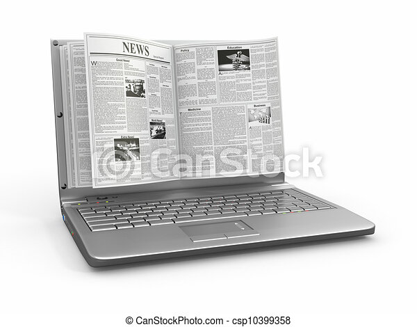 Nachrichten. Zeitung als Laptop-Screen auf weißem Hintergrund. - csp10399358