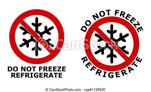 Nicht einfrieren, Kühlzeichen. Schwarzer Schneeflocken-Symbol in rot gekreuztem Kreis. Version mit Text unten und um das Symbol herum. - csp61125630