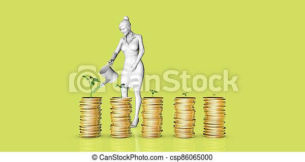 pflanze, wachsen, geld - csp86065000